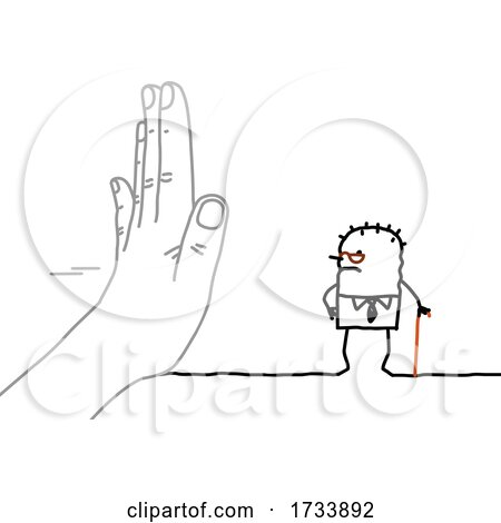 Hand Blocking at Senior Stick Man by NL shop