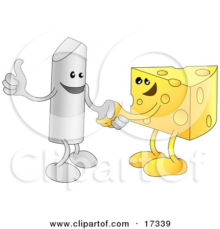 Chalk Character Giving The Thumbs Up And Shaking Hands With A Wedge Of Swiss Cheese While Agreeing On A Business Deal Clipart Illustration by AtStockIllustration