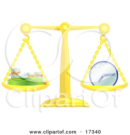 Golden Scale Balanced With Coins And Cash On The Left Side And A Clock On The Right Side, Symbolizing That Time Is Money Clipart Illustration by AtStockIllustration