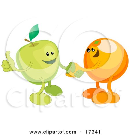 Green Apple Shaking Hands With An Orange While Agreeing On A Business Deal Clipart Illustration by AtStockIllustration