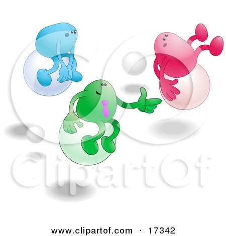 Three Bean Characters, One Blue, Green And Pink, Racing Eachother While Bouncing On Balls Clipart Illustration Posters, Art Prints