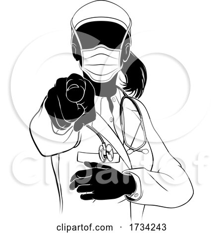 Woman Doctor PPE Mask Pointing Need You Silhouette by AtStockIllustration