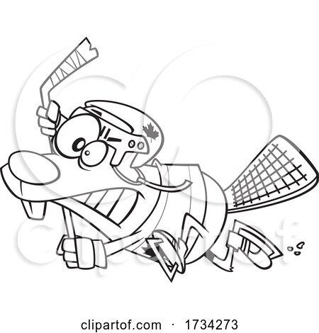 Clipart Lineart Cartoon Hockey Beaver by toonaday