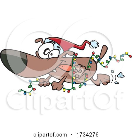 Clipart Cartoon Christmas Dog Running with Lights by toonaday