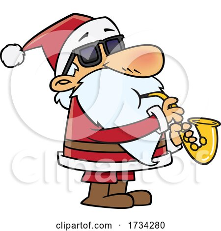 Clipart Cartoon Santa Playing a Saxophone by toonaday
