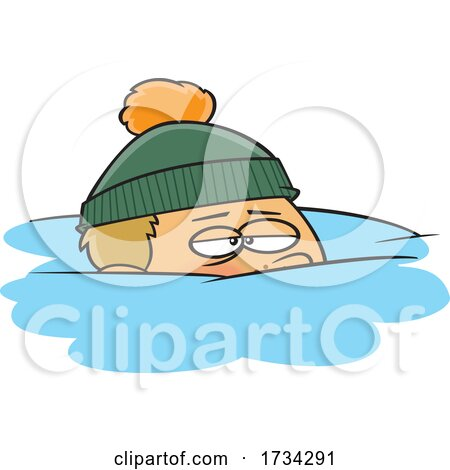 Clipart Cartoon Boy Snowed Under by toonaday