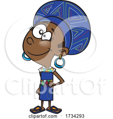 Clipart Cartoon South African Girl by toonaday