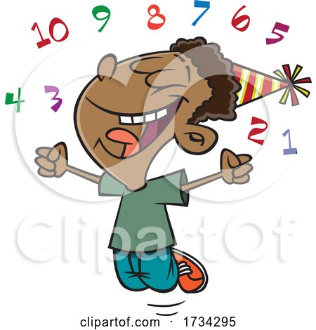 Clipart Cartoon Boy Celebrating the New Year by toonaday