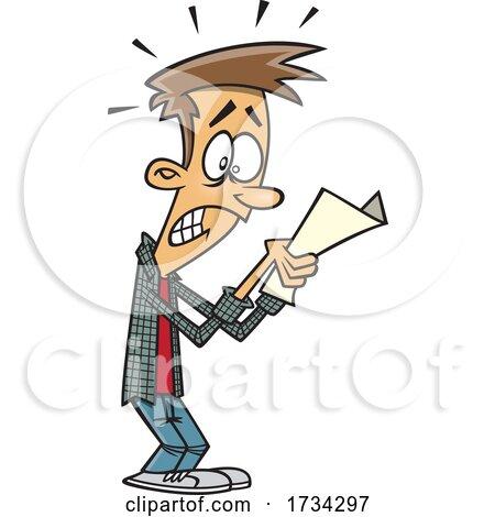Clipart Cartoon Teen Boy Receiving a Bad Grade by toonaday
