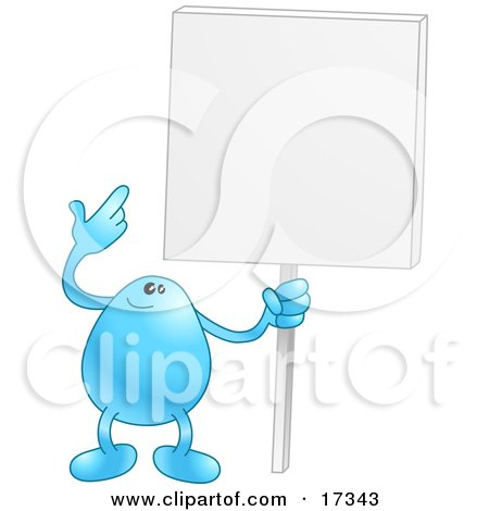 Blue Bean Character Holding And Pointing To A Blank White Advertising Sign Clipart Illustration by AtStockIllustration
