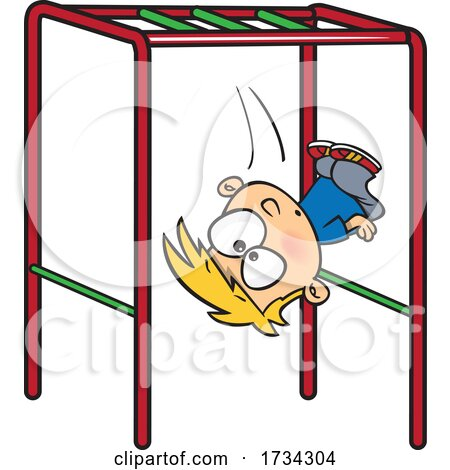 Clipart Cartoon Boy Falling off of Monkey Bars on a Playground by toonaday