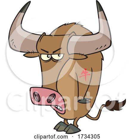 Clipart Cartoon Tough Chinese Zodiac Tattooed Ox by toonaday