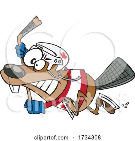 Clipart Cartoon Hockey Beaver by toonaday