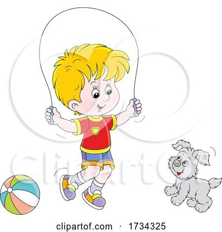 Little Boy Playing with His Pup and Jump Roping by Alex Bannykh