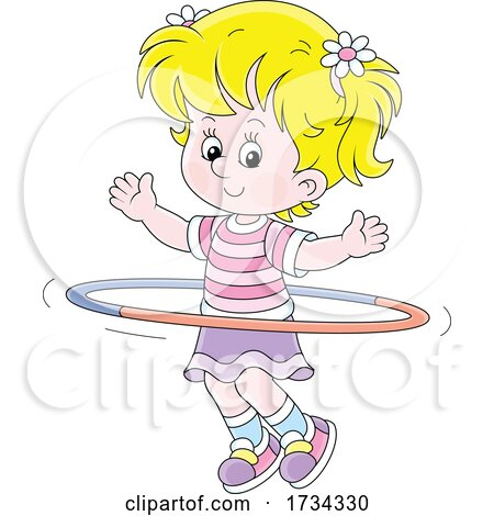 Little Girl Exercising with a Hula Hoop by Alex Bannykh