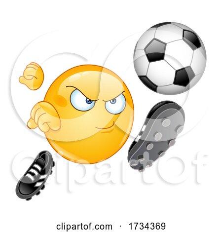 Cartoon Emoji Smiley Kicking a Soccer Ball by yayayoyo