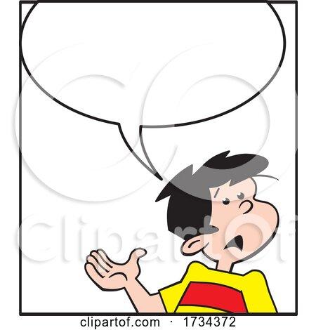 Cartoon Boy Explaining Under a Word Balloon by Johnny Sajem