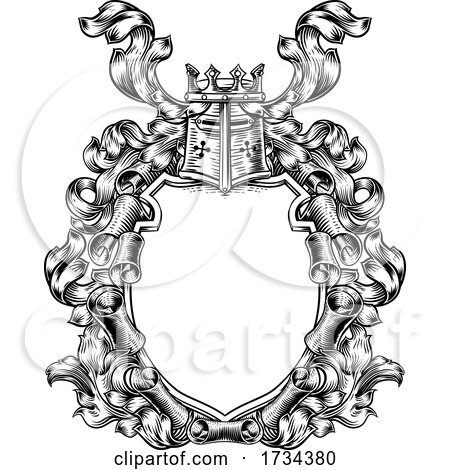 Crest Coat of Arms Royal Scroll Shield by AtStockIllustration