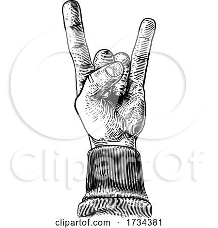 Heavy Metal Rock Music Hand Sign Gesture by AtStockIllustration