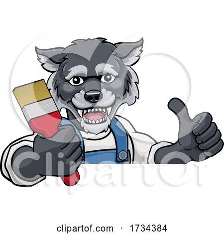 Wolf Painter Decorator Holding Paintbrush by AtStockIllustration