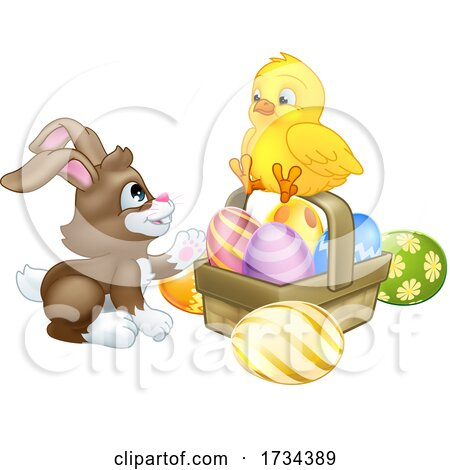 Easter Bunny Rabbit with a Basket and Chick by AtStockIllustration