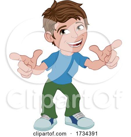 Boy Kid Cartoon Child Character Pointing by AtStockIllustration