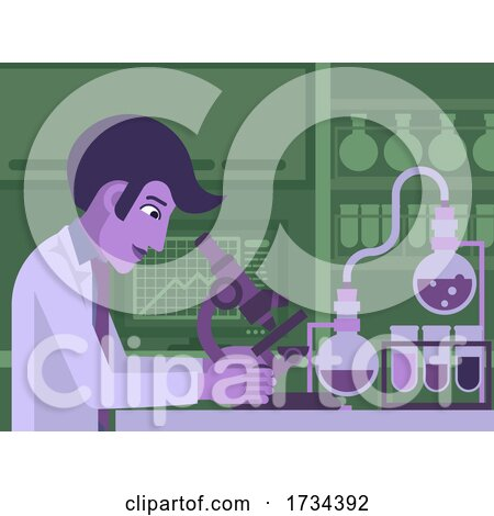 Scientist Working in Laboratory with Microscope by AtStockIllustration