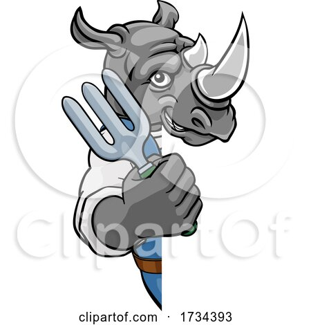 Rhino Gardener Gardening Animal Mascot by AtStockIllustration