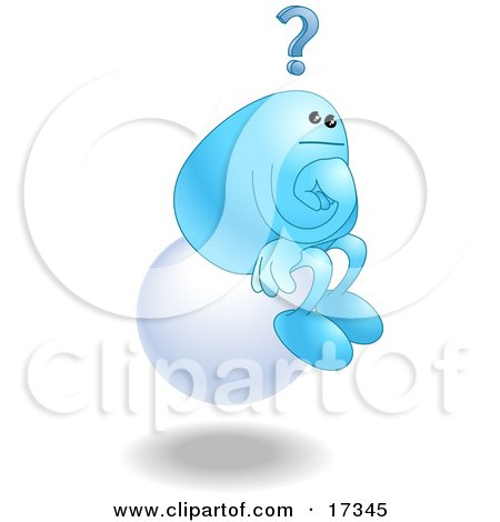 """Blue Bean Character Sitting On A Floating White Sphere And Thinking, Resembling """"The Thinker"""" By Auguste Rodin Clipart Illustration by AtStockIllustration"""