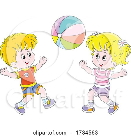 Kids Playing with a Beach Ball by Alex Bannykh
