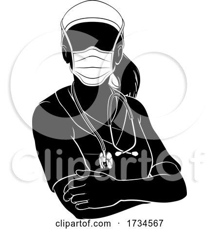 Doctor Nurse Woman PPE Mask Scrubs Silhouette by AtStockIllustration