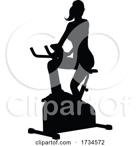 Gym Woman Silhouette Stationary Exercise Spin Bike by AtStockIllustration