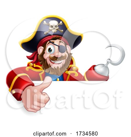 Pirate Captain Cartoon Thumbs up Sign Background by AtStockIllustration
