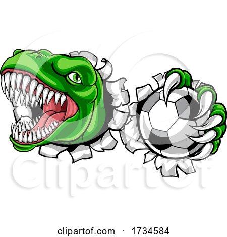 Dinosaur Soccer Football Player Sports Mascot by AtStockIllustration