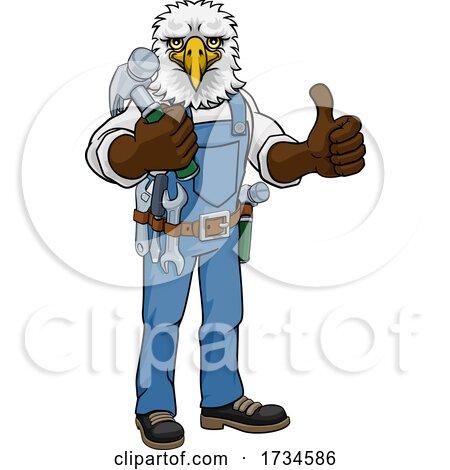 Eagle Mascot Carpenter Handyman Holding Hammer by AtStockIllustration