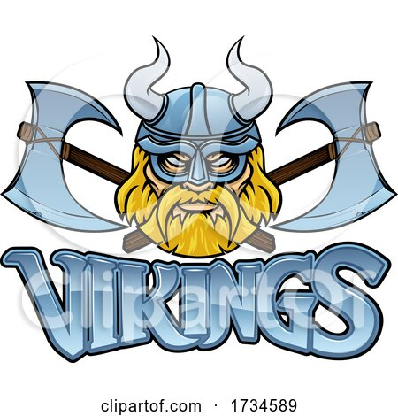 Viking Crossed Axes Mascot Warrior Sign Graphic by AtStockIllustration