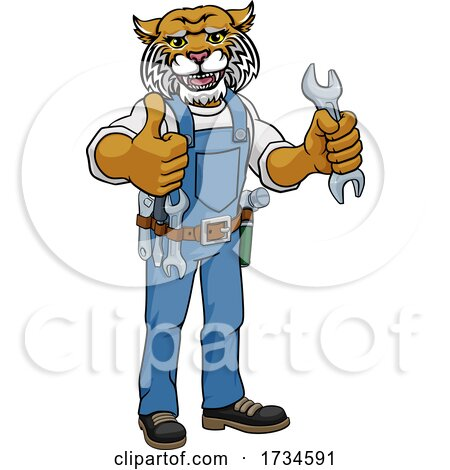 Wildcat Plumber or Mechanic Holding Spanner by AtStockIllustration