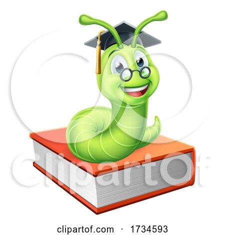 Graduate Caterpillar Bookworm on Book by AtStockIllustration