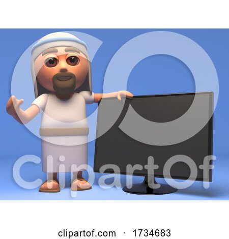 3d Cartoon Jesus Christ Holy Saviour Has a New Widescreen Television Monitor by Steve Young