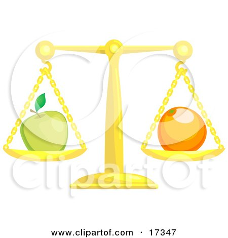 Golden Scale Balanced With A Green Apple On The Left Side And An Orange On The Right Side, Symbolizing Opposites Clipart Illustration by AtStockIllustration