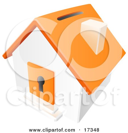 Orange And White House With A Coin Slot On The Roof And A Keyhole in the Door Clipart Illustration by Leo Blanchette
