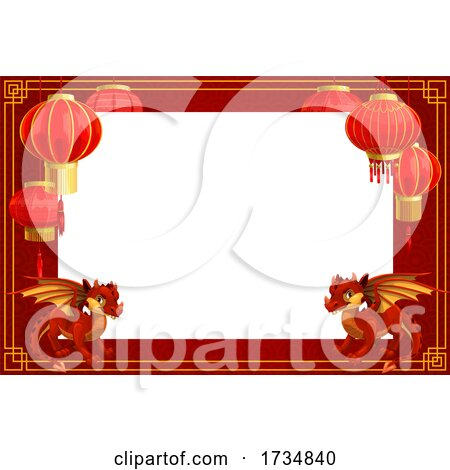 Chinese Lantern and Zodiac Border by Vector Tradition SM