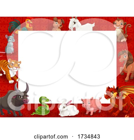 Chinese Zodiac Animal Border by Vector Tradition SM
