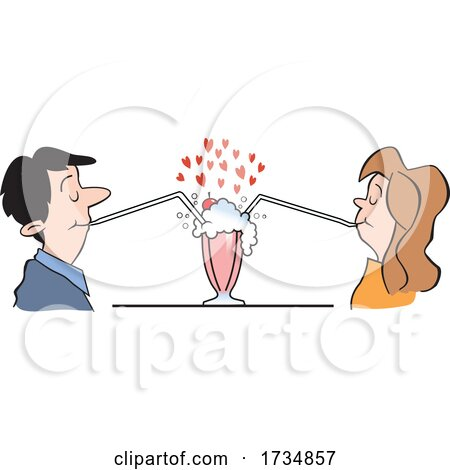 Social Distanced Couple Sharing a Soda on Valentines Day by Johnny Sajem