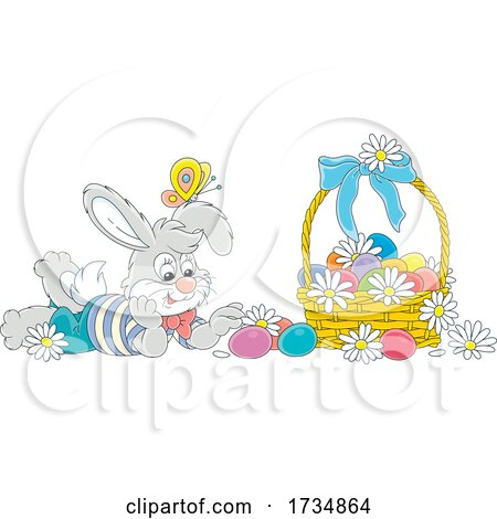 Bunny with a Basket of Easter Eggs and a Butterfly by Alex Bannykh