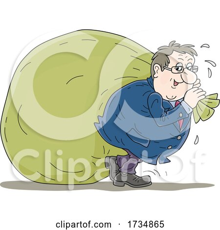 Greedy Rich Man Pulling a Giant Money Bag by Alex Bannykh