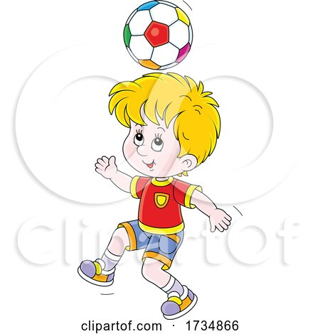 Boy Bouncing a Soccer Ball off of His Head by Alex Bannykh