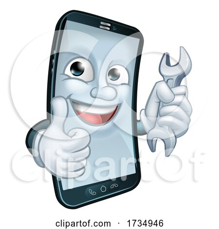 Mobile Phone Repair Spanner Thumbs up Mascot by AtStockIllustration