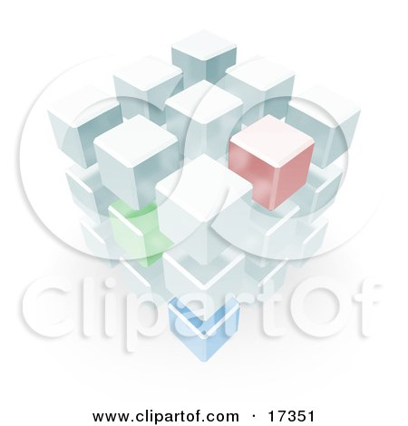 Complex Block Made up of Green, Red and Blue Cubes Clipart Illustration by Leo Blanchette