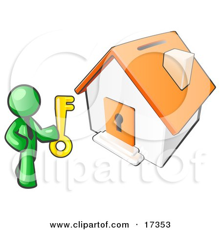 Lime Green Businessman Holding A Skeleton Key And Standing In Front Of A House With A Coin Slot And Keyhole, Selling Or Purchasing A Home Clipart Illustration by Leo Blanchette